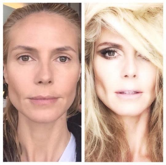 heidi klum�s before amp after makeup transformation