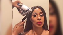 Cardi B straightened her hair the old-fashioned way