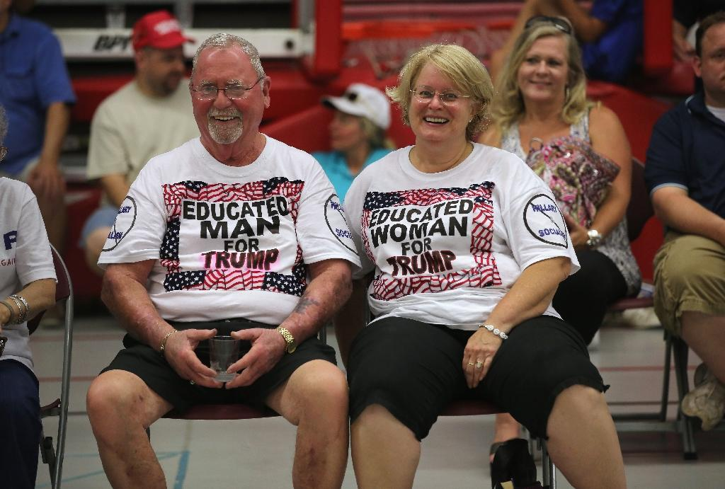 Supporters of Republican Presidential candidate Donald Trump wait to hear him speak on August 13, 2016 in Fairfield, Connecticut (AFP Photo/John Moore)