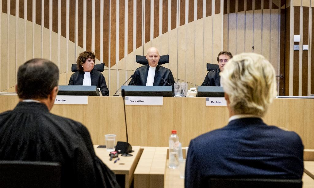 Three judges are hearing the case against Wilders, 53, on charges of insulting a racial group and inciting racial hatred (AFP Photo/Remko de Waal)