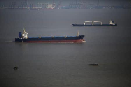 Ships sail on the Yangtze river near Shanghai
