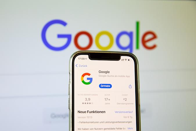 BARGTEHEIDE, GERMANY - MAY 03: (BILD ZEITUNG OUT)  In this photo illustration, a Google App in the IOS App Store on May 03, 2021 in Bargteheide, Germany. (Photo by Katja Knupper/Die Fotowerft/DeFodi Images via Getty Images)
