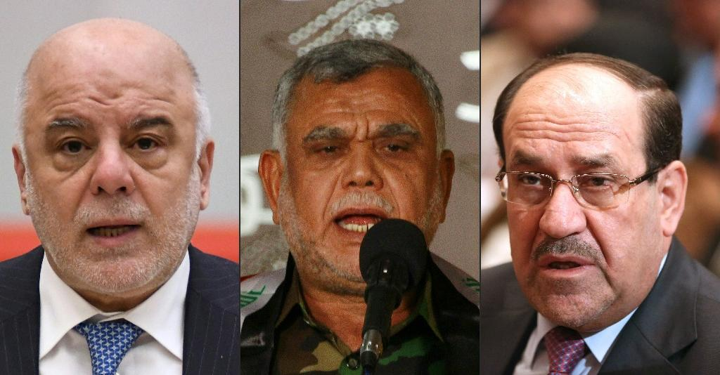 The vote will pit Iraq's Prime Minister Haider al-Abadi (L) against Hadi al-Amiri (C), head of the Hashed al-Shaabi paramilitary coalition, and former premier Nuri al-Maliki (R) (AFP Photo/Kazuhiro NOGI, HAIDAR HAMDANI, HADI MIZBAN)