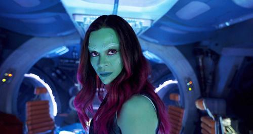 Zoe Saldana as Gamora in 'Guardians of the Galaxy, Vol. 2'