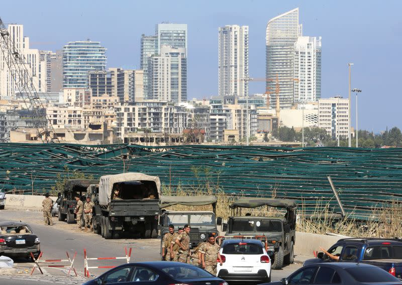 Lebanese soldiers are seen near the site of Tuesday's blast in Beirut's port area