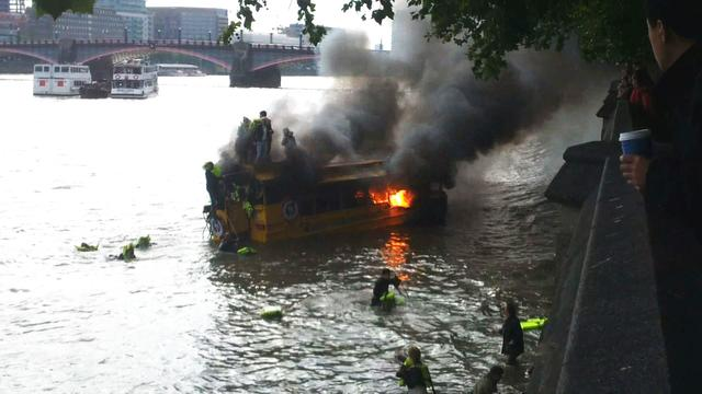 London tour boat catches fire