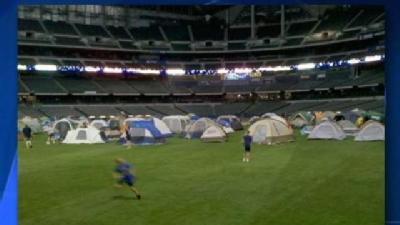 Brewers Fans Set Up Camp Inside Miller Park
