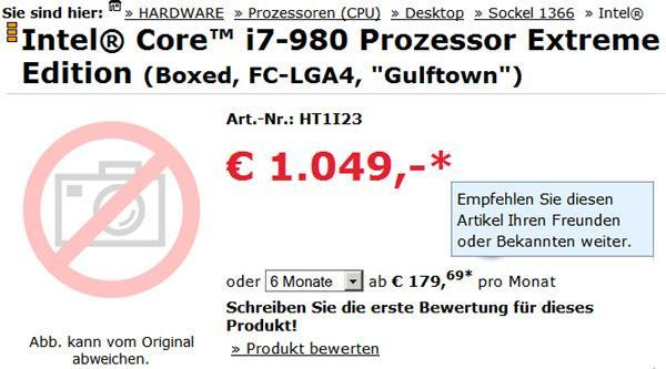 Intel's six-core Core i7-980X Extreme Edition 'Gulftown' chip goes on sale in Germany