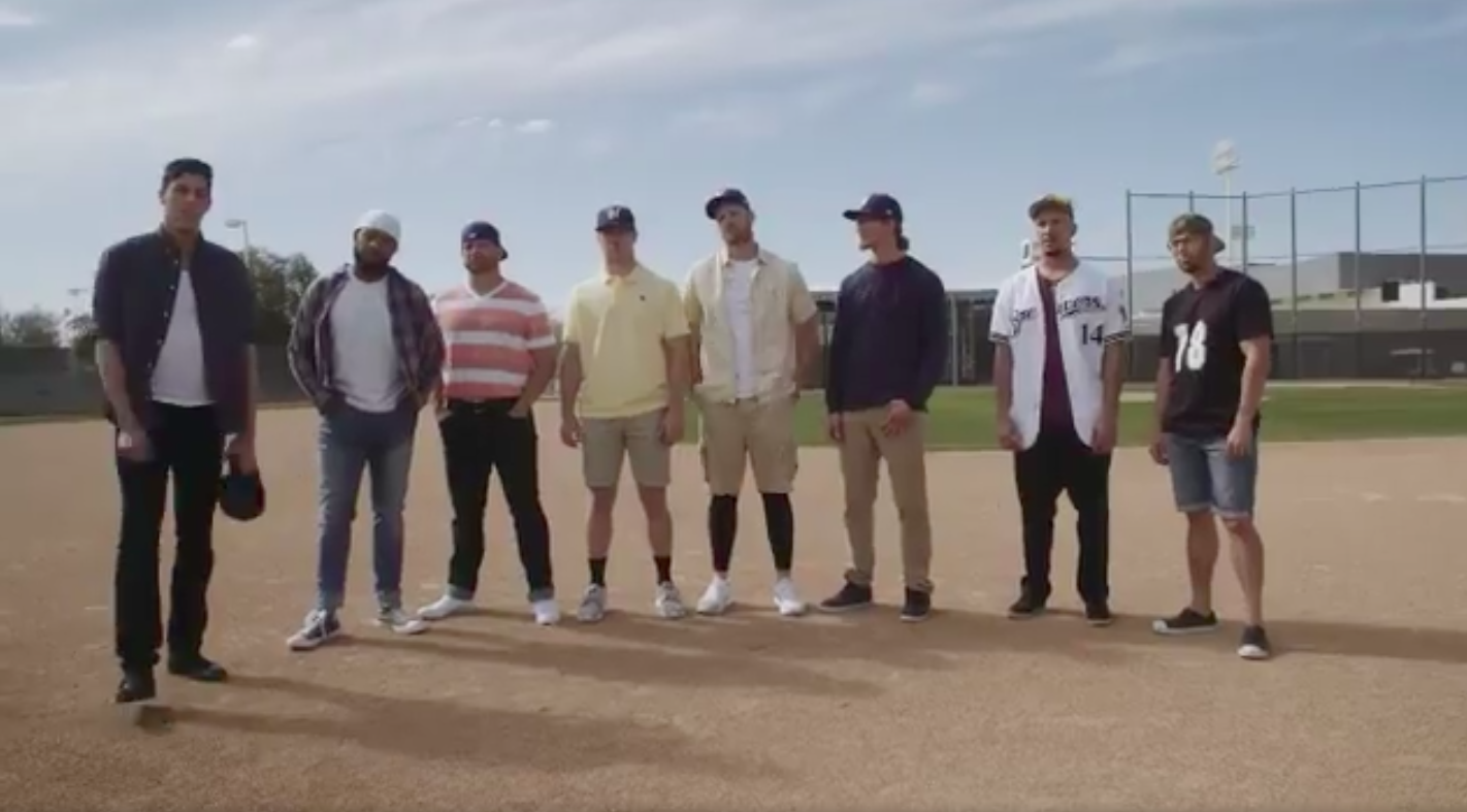 930f38dcd8520 Brewers players re-enact  Sandlot  scene with Hank the dog