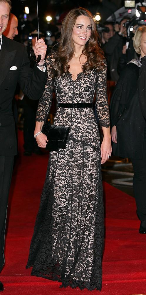 Attending the premiere of War Horse in the UK, Kate wore a lace Temperley London gown.