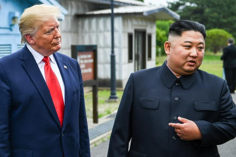 North Korea's leader Kim Jong Un with US President Donald Trump south of the Military Demarcation Line that divides North and South Korea