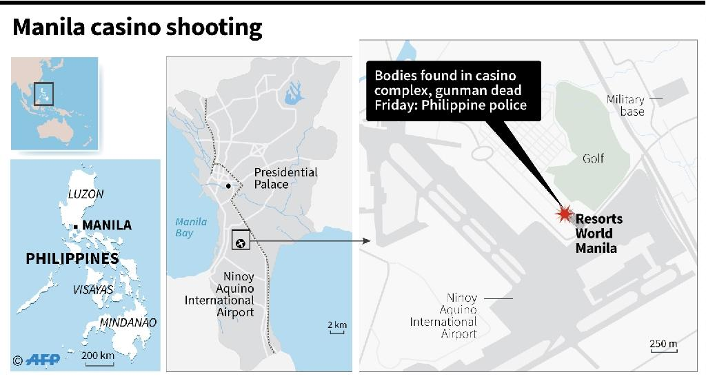 The masked man stormed into the Resorts World casino and hotel complex in Manila on Friday with an M4 automatic rifle and a bottle of petrol, before setting alight a number of different rooms in the complex (AFP Photo/AFP )