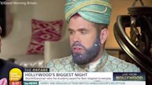 Perez Hilton mocked for blue glitter beard and turban outfit at the Oscars
