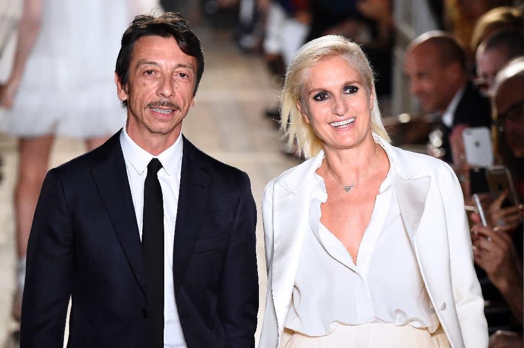 451f57c2c2ab6 Valentino's designers Maria Grazia Chiuri and Pier Paolo Piccioli at  the end