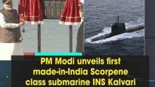 PM Modi unveils first made-in-India Scorpene class submarine INS Kalvari