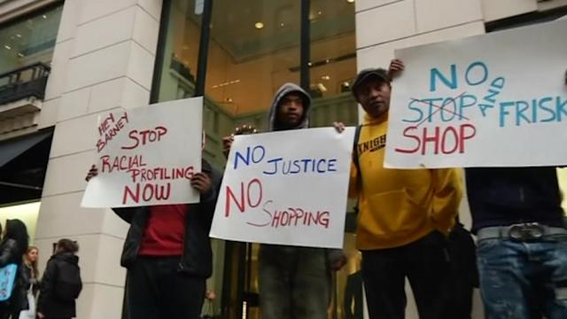 Demonstrators protest at Barneys over