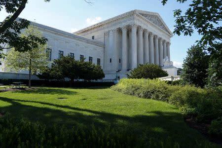 Trees cast shadows outside the U.S. Supreme Court in Washington