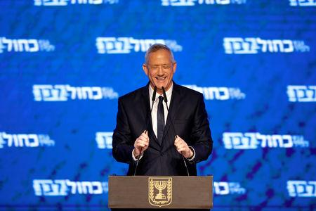 Benny Gantz, head of Blue and White party, delivers a speech following the announcement of exit polls in Israel's parliamentary election at his party headquarters in Tel Aviv, Israel April 10, 2019. REUTERS/Amir Cohen