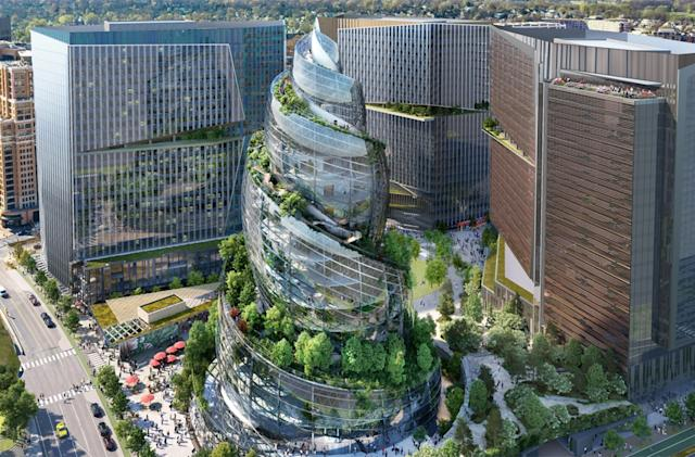 Amazon's next offices in Virginia will include a spiraling rooftop forest