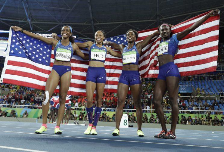 U.S. women's 4x100 relay team sprints past Jamaica to ...
