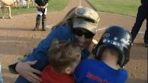 Soldier Surprises Kids With Homecoming at Home Plate