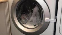 Pais alertam sobre o perigo das lavadoras de roupas após filha de 3 anos ficar presa no aparelho
