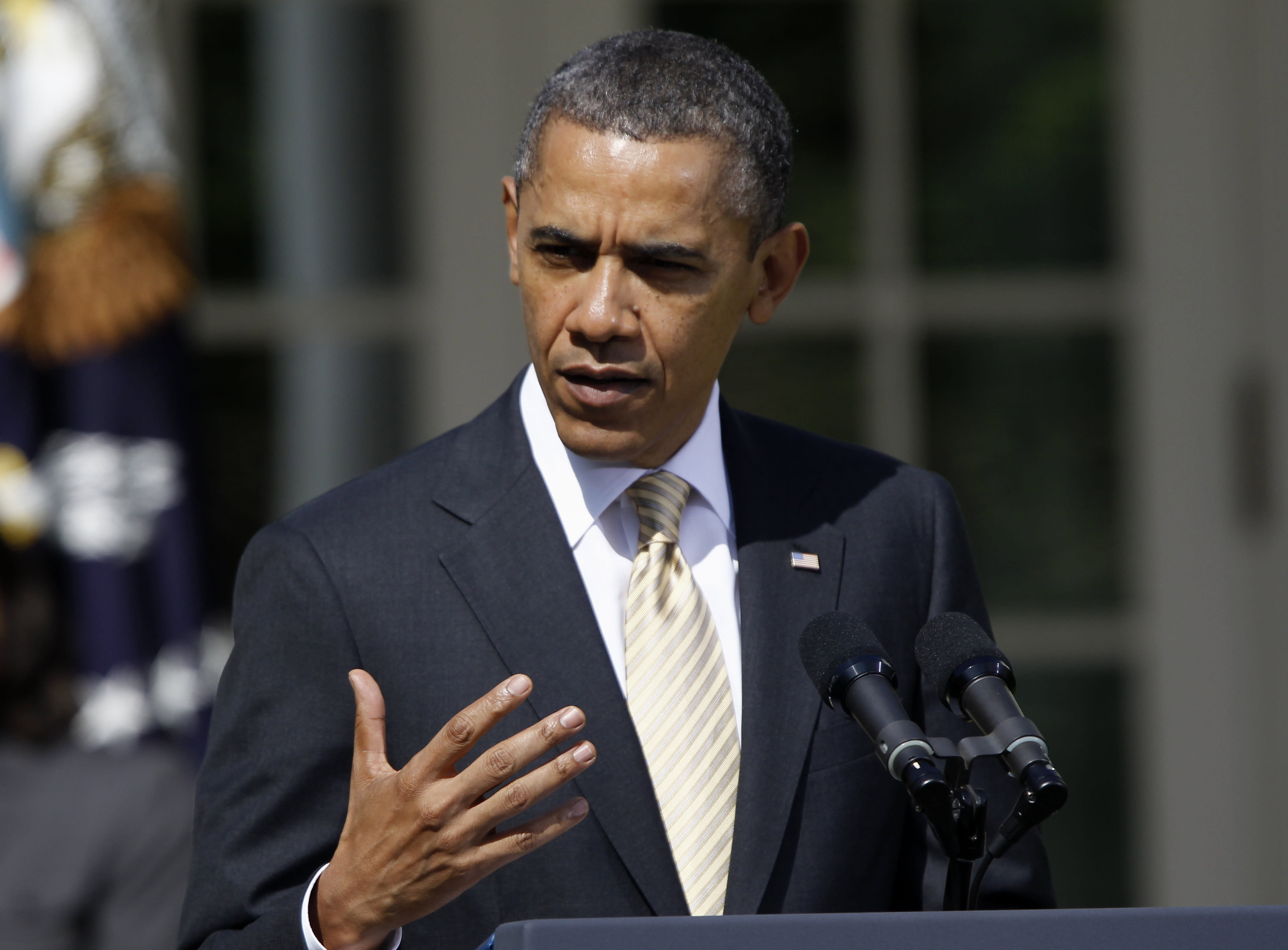 President Barack Obama speaks in the Rose Garden of the White House in Washington, Thursday, March 29, 2012, to urge Congress to eliminate tax breaks for oil and gas companies. (AP Photo/Charles Dharapak)