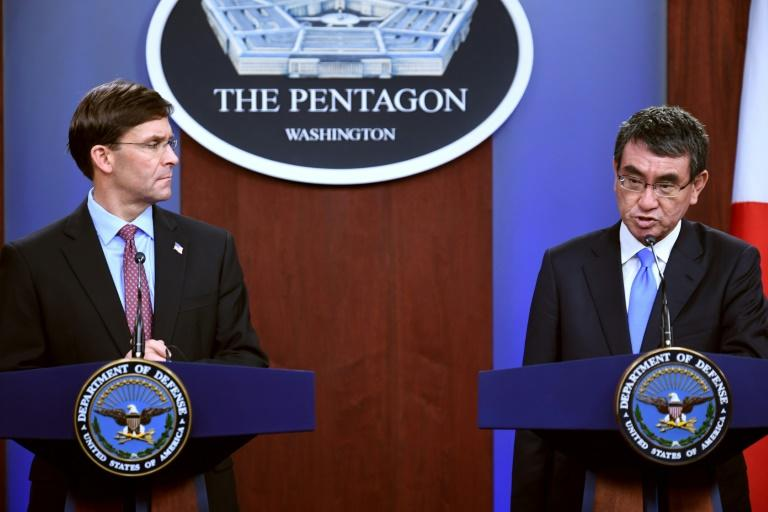 US Secretary of Defense Mark Esper and Japan's Minister of Defense Taro Kono show a united front on North Korea in a Pentagon news conference (AFP Photo/Eric BARADAT)