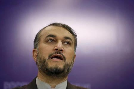 Iran's Deputy Foreign Minister Amir-Abdollahian speaks during news conference in Moscow