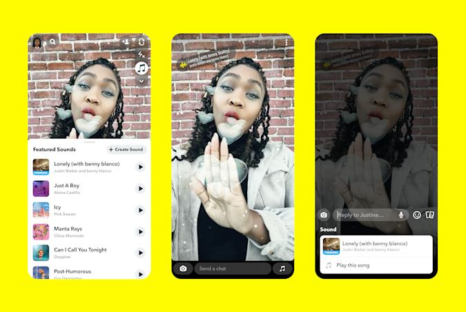 Snapchat now lets iOS users add music to snaps.