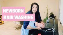Newborn Hair Washing