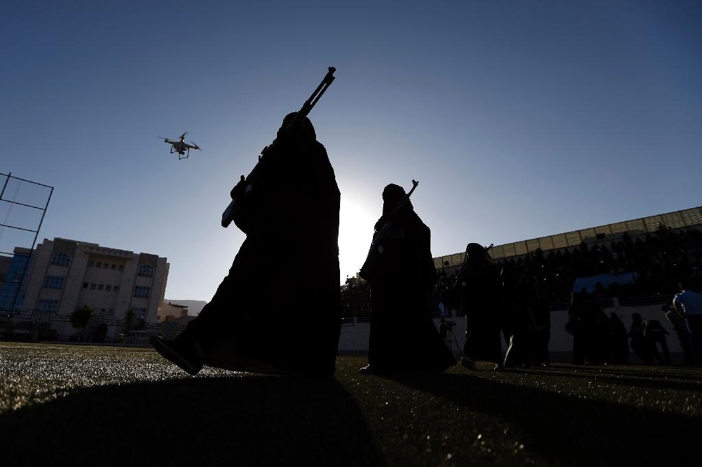Yemeni female fighters supporting the Shiite Huthi rebels take part in an anti-Saudi rally in Sanaa