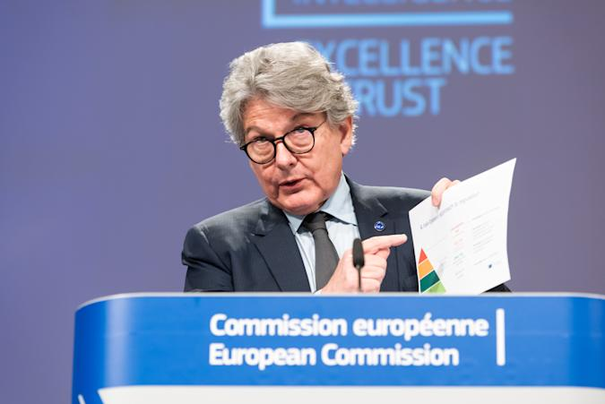 BRUSSELS, BELGIUM - APRIL 21: European Executive Vice-President Margrethe Vestager (not seen) and European Commissioner in charge of internal market Thierry Breton hold a press conference on artificial intelligence (AI) following the weekly meeting of the EU Commission in Brussels on April 21, 2021. in Brussels on April 21, 2021. (Photo by European Commission / Pool/Anadolu Agency via Getty Images)