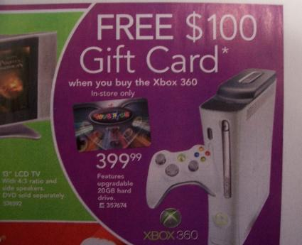 $100 gift card free with Xbox 360 purchase [update 1]