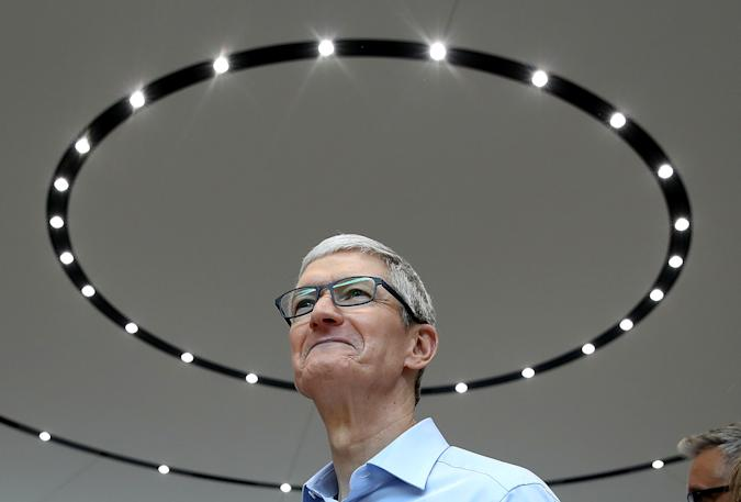 CUPERTINO, CA - SEPTEMBER 12:  Apple CEO Tim Cook looks on during an Apple special event at the Steve Jobs Theatre on the Apple Park campus on September 12, 2017 in Cupertino, California. Apple held their first special event at the new Apple Park campus where they announced the new iPhone 8, iPhone X and the Apple Watch Series 3.  (Photo by Justin Sullivan/Getty Images)