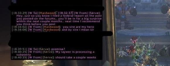 """Guildwatch: """"My laywer is processing a subpoena"""""""