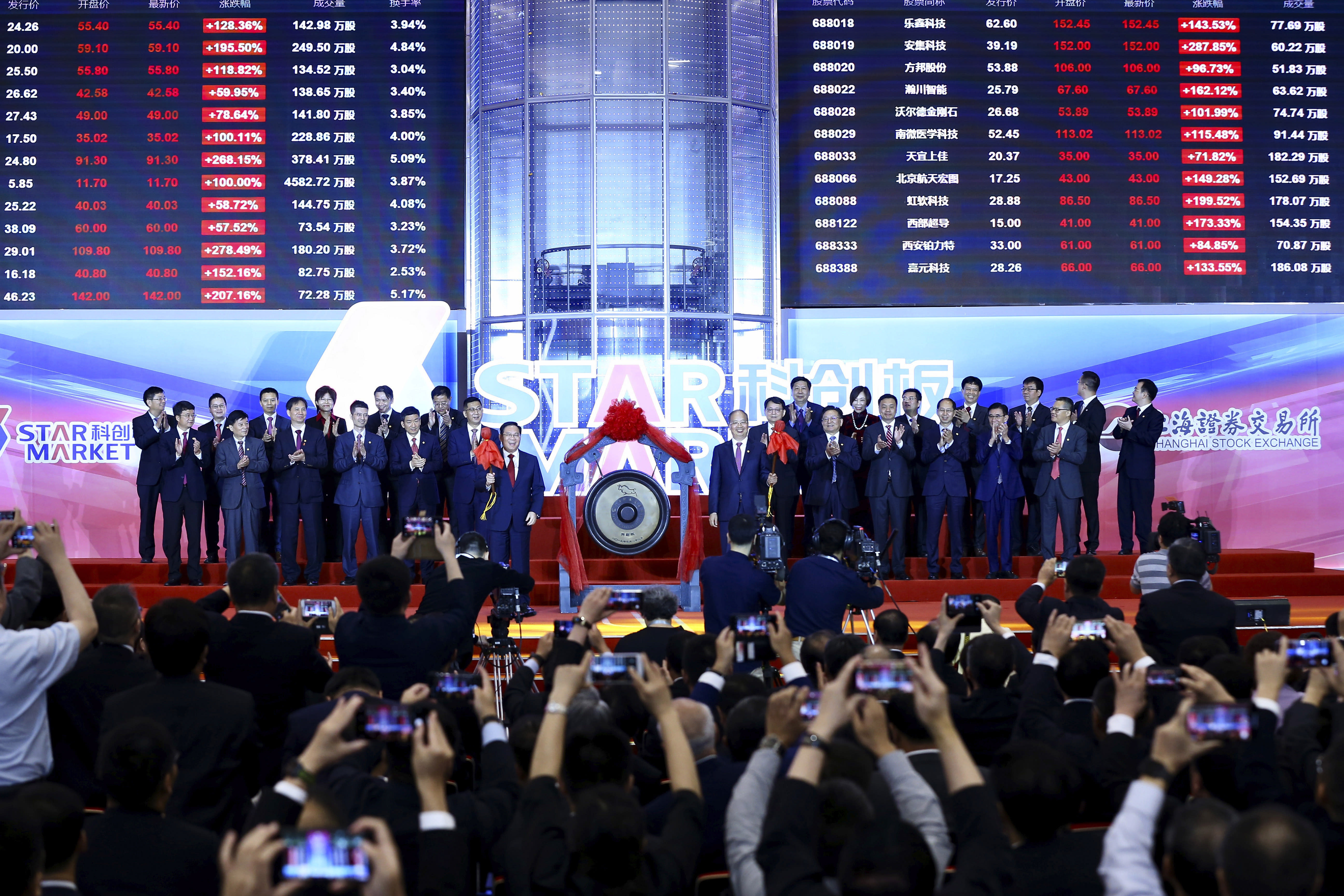 Li Qiang, center left, Shanghai's Party chief, and Yi Huiman, center right, chairman at China Securities Regulatory Commission, and the heads of 25 companies celebrate the launch of the SSE STAR Market in the hall of Shanghai Securities Exchange in Shanghai, China, Monday, July 22, 2019. Trading started Monday on a Chinese stock market for high-tech companies that play a key role in official development plans that are straining relations with Washington. (Chinatopix via AP)