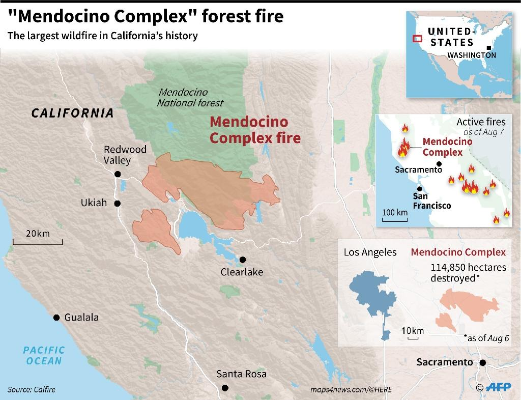 Map locating the areas burnt by the 'Mendocino Complex' which has become the largest in California's history, destroying an area the size of Los Angeles (AFP Photo/Simon MALFATTO)