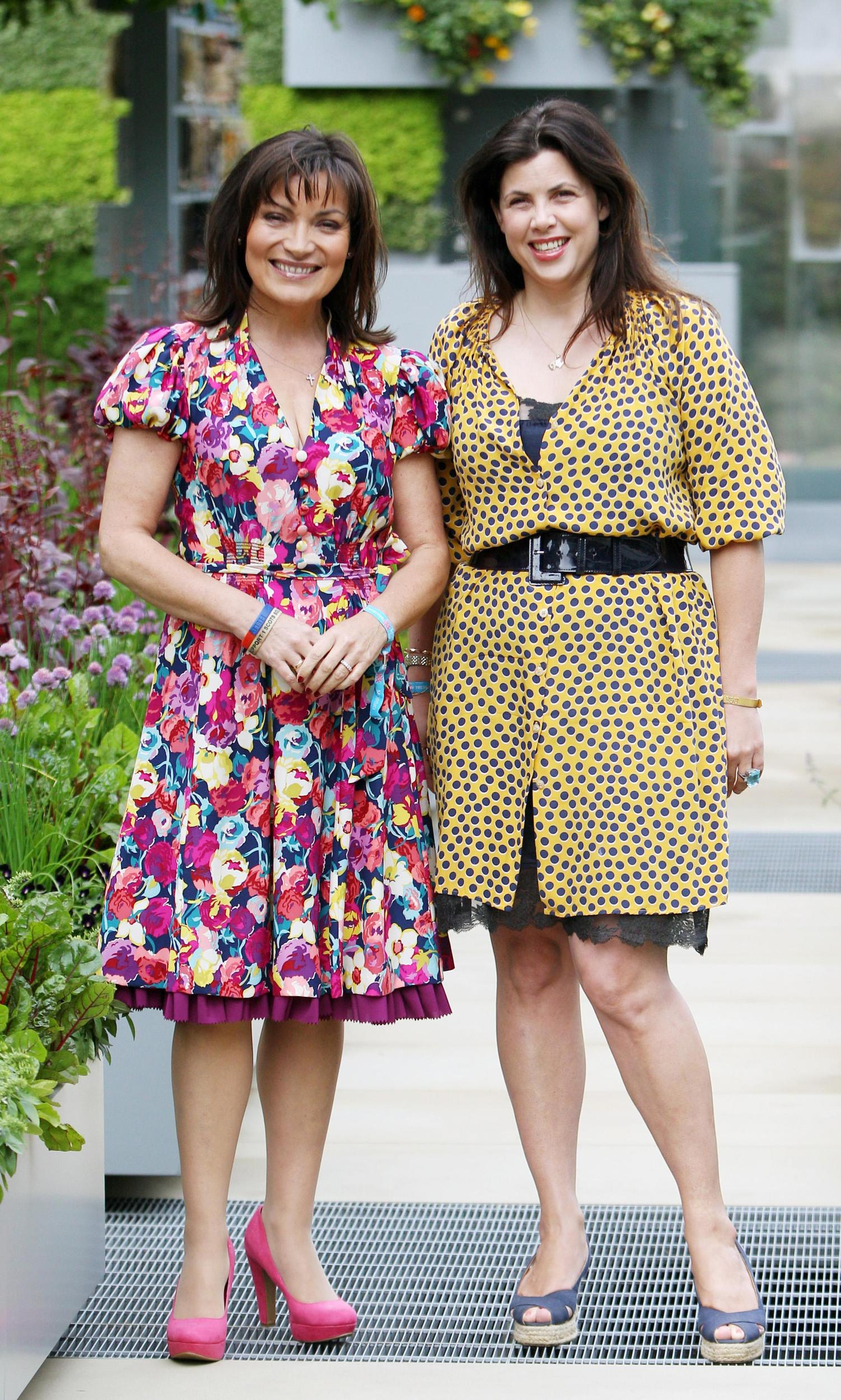 Lorraine Kelly and Kirstie Allsopp in the B&Q Garden, the tallest edible garden at the Chelsea Flower Show.