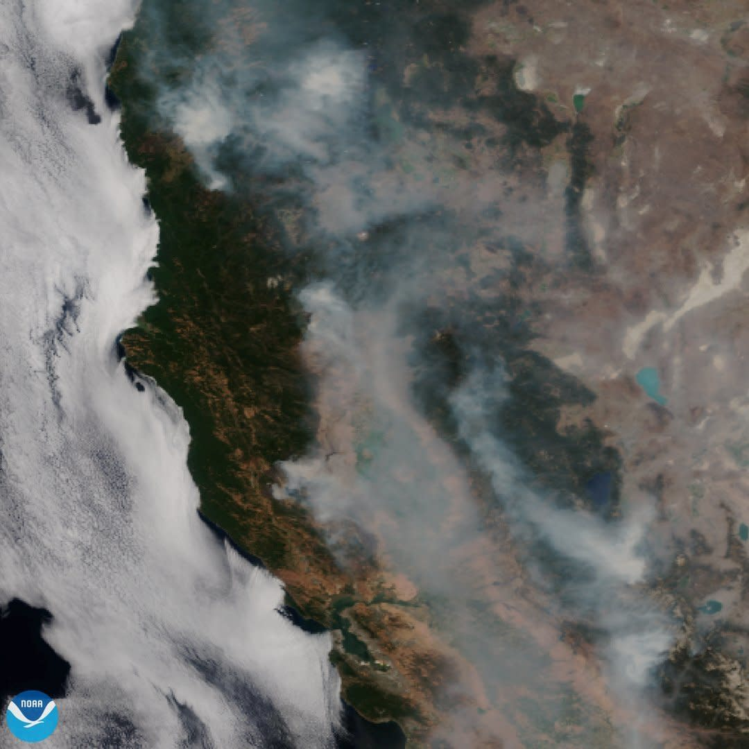 This satellite image released on Tuesday, Aug. 7, 2018 provided by NOAA shows the wildfires known as the Mendocino Complex, Calif. Northern California is grappling with the largest wildfire in California history, breaking a record set only months earlier. Experts say this may become the new normal as climate change coupled with the expansion of homes into undeveloped areas creates more intense and devastating blazes. (NOAA via AP)