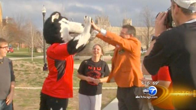 Northern Illinois University campus celebrates Orange Bowl berth