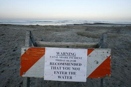 A sign posted by local authorities in Cardiff, California April 26, 2008 warns against entering the water following a fatal shark attack yesterday in Solana Beach. REUTERS/Mike Blake/Files