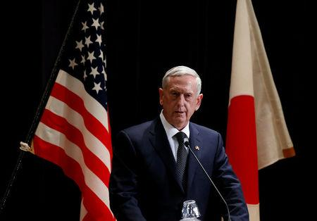 U.S. Defense Secretary Mattis speaks at a joint news conference with Japan's Defense Minister Inada after their meeting at the Defense Ministry in Tokyo