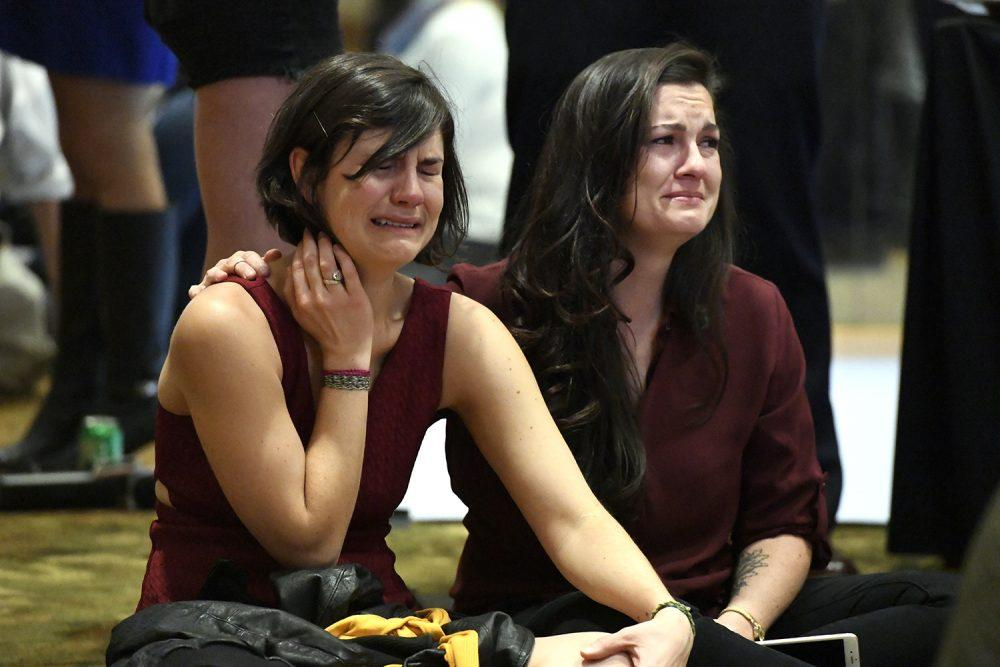 <p>Clinton supporters shed tears as they watch returns on TV favoring Donald Trump during the Democratic watch party on November 8, 2016 at the Westin in Denver, Colorado. (Photo By John Leyba/The Denver Post via Getty Images) </p>