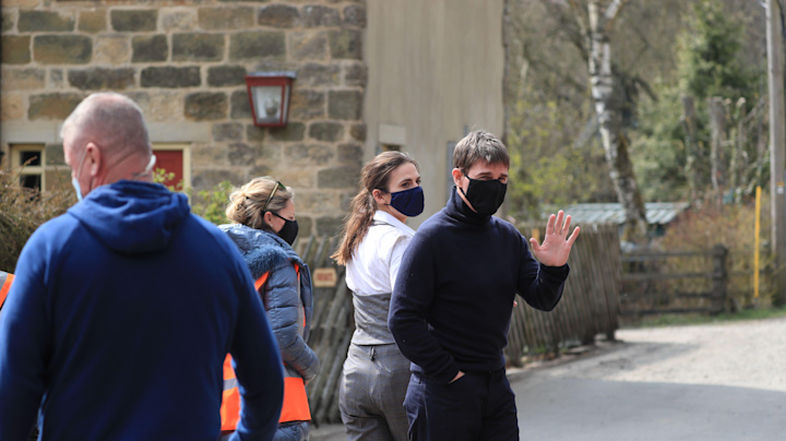 Tom Cruise pictured on set in the North York Moors