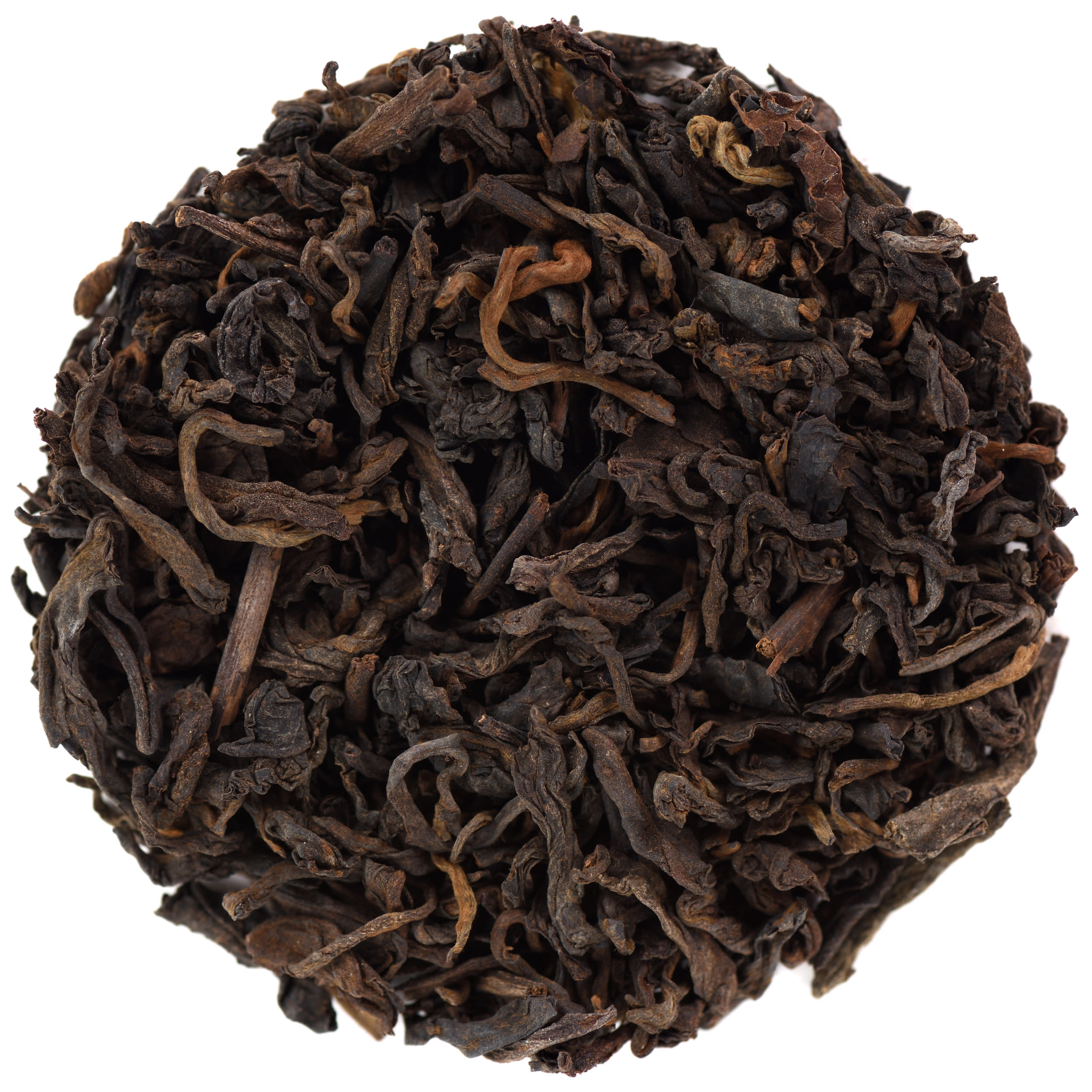 Loose ripe puerh in round shape isolated above view