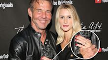 Dennis Quaid, 65, and Laura Savoie, 26, flash engagement ring on the red carpet