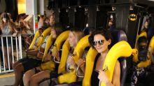 Katie Holmes Has Batman Déjà Vu at Six Flags As She Rides Coaster with Daughter Suri Cruise