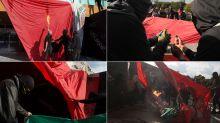FOTOS | Vándalos bajan y queman bandera de México en Rectoría de la UNAM