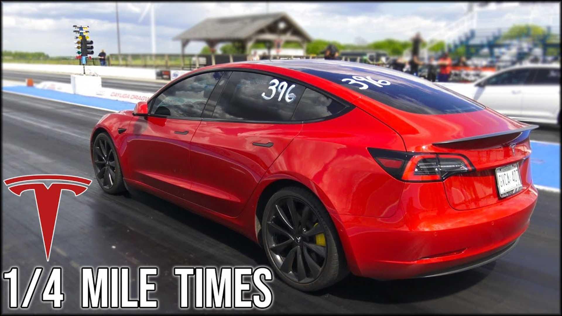 Tesla Model 3 Performance Model S Raven 1 4 Mile Track Tests